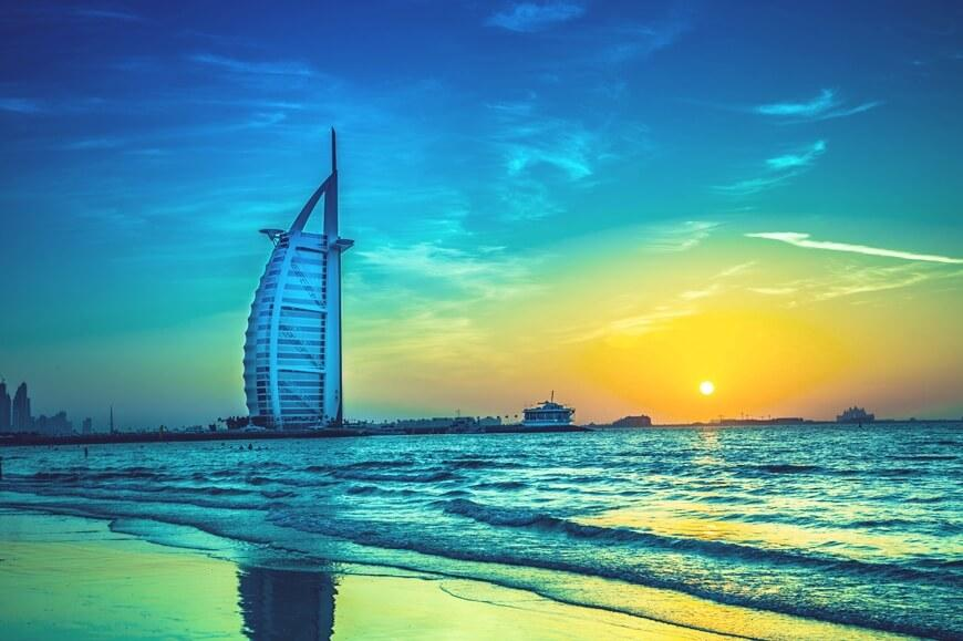 Burj Al Arab in Dubai View at Sunset Time