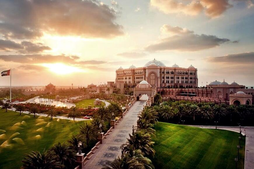 Emirates Palace Hotel at Sunset Time View