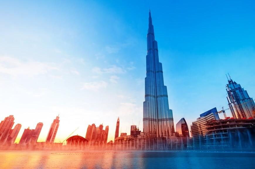 Burj Khalifa and Dubai Mall View at Daytime